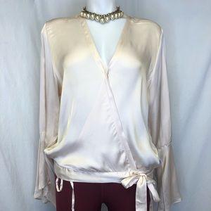 Intimissimi women NWT wrap satin  blouse sz L,